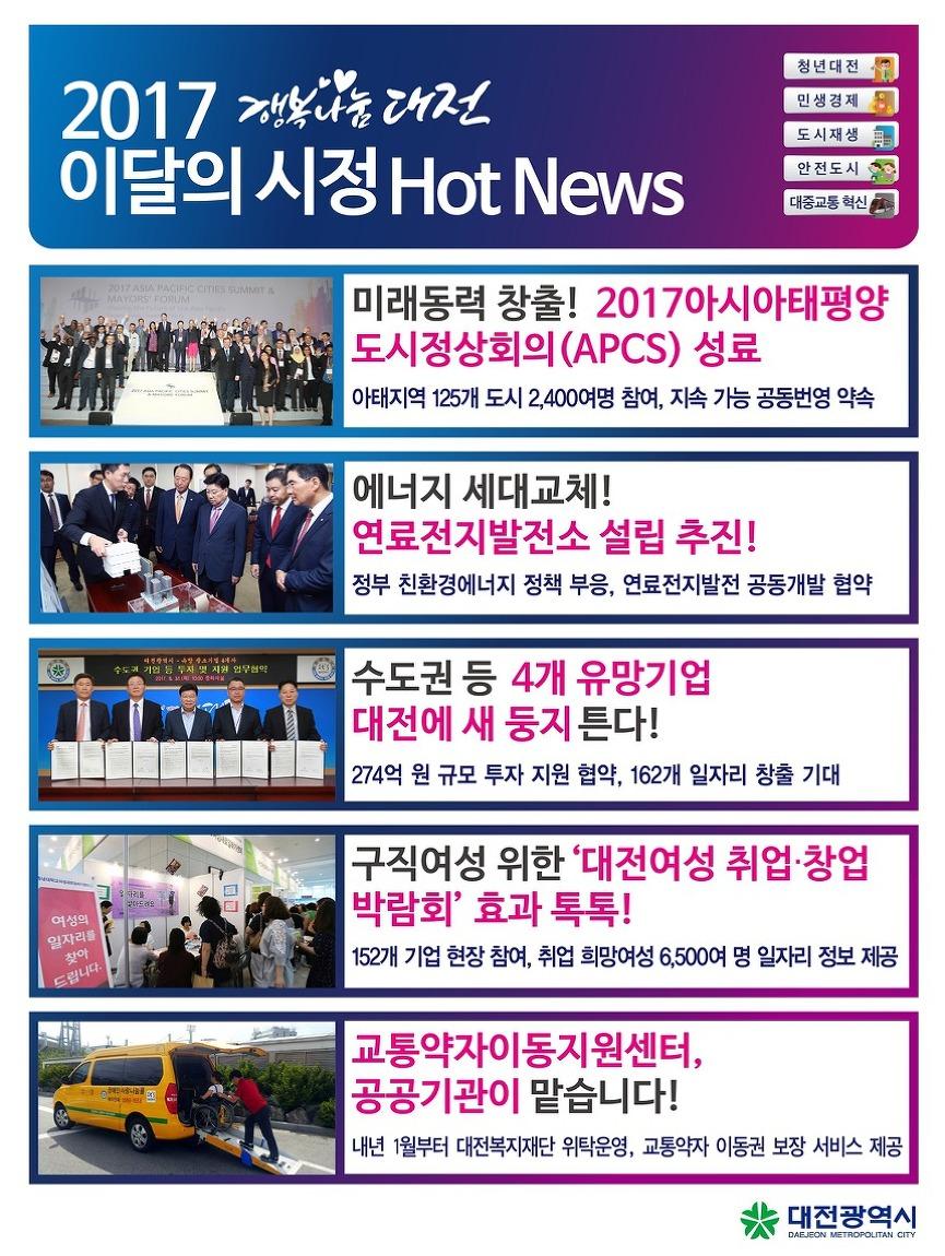 2017. 9월 대전시정 핫뉴스(APCS 성료, 연료전지발전소 설립 추진 등)