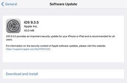 iOS 9.3.5 IPSW 다운로드 링크 및 업데이트 내용