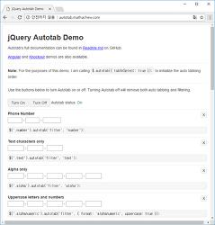 자동 포커스 이동 - jQuery Auto Tab