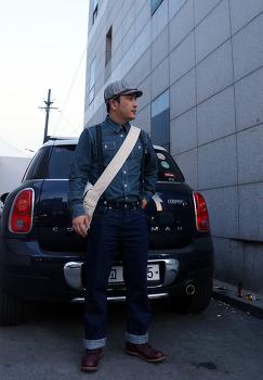 에이징CCC 서스펜더 헌팅캡 코디 빈티지 가방 스타일