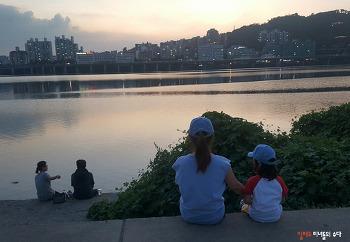 열대야 더운 밤 한강공원으로 피서, 팬콧 모자 모녀 커플룩