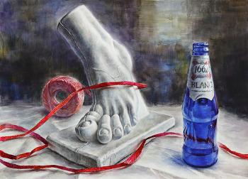 [정물수채화 / 과정작] 석고상 발, 파란색 맥주병, 비닐노끈