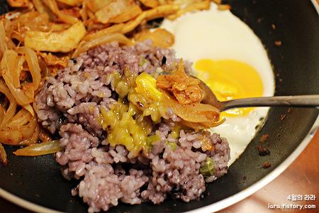 혼밥, 후라이팬으로 간편하게 김치볶음 + 계란후라이