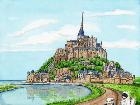[수채화] 프랑스의 몽생미셸 수도원
