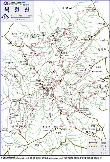 북한산(삼각산) 지도