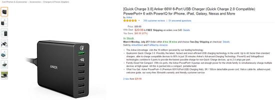 [Amazon.com] Anker 60W 6-Port USB Charger / 퀵차지 3.0 충전기 ($29.99 / $6.78)