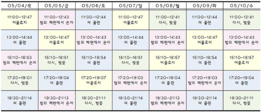 [05.04-05.10 상영시간표] 더 플랜 / 다시, 벚꽃 / 밤의 해변에서 혼자 / 어폴로지