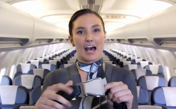 누드 보디페인팅 승무원을 안내 비디오에 등장시킨 뉴질랜드 항공