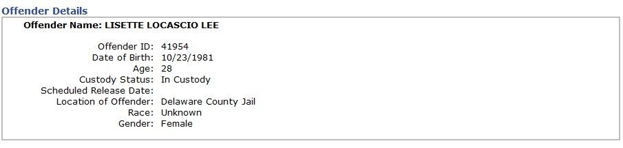 마약운반녀 리제트 리 델라웨어교도소 수감