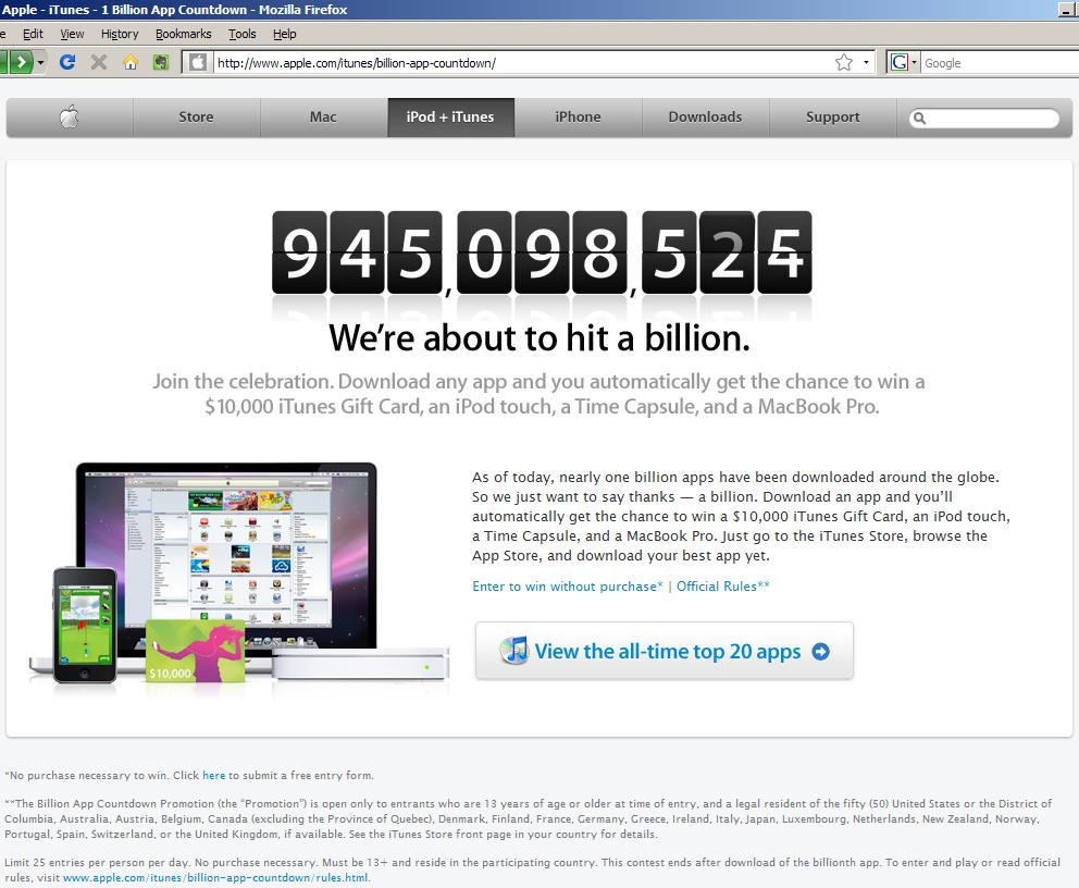 애플 홈피 - 앱스토어 10억 회 다운로드 카운트다운 스샷