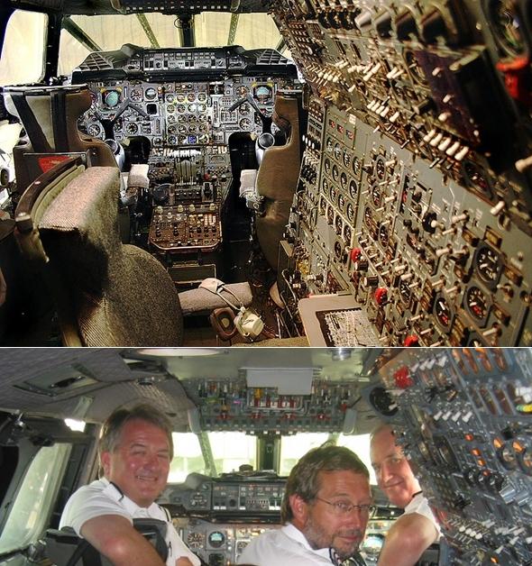 콩코드 항공기 조종석 (오른쪽 판넬 부분이 항공기관사가 관장하는 부분)