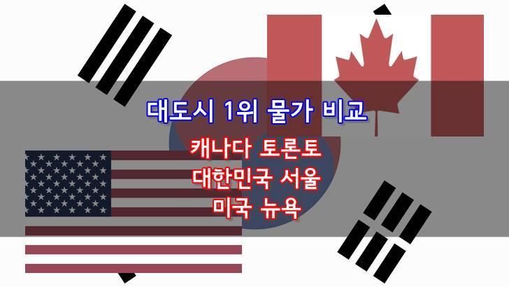 미국 캐나다 한국 물가 비교입니다