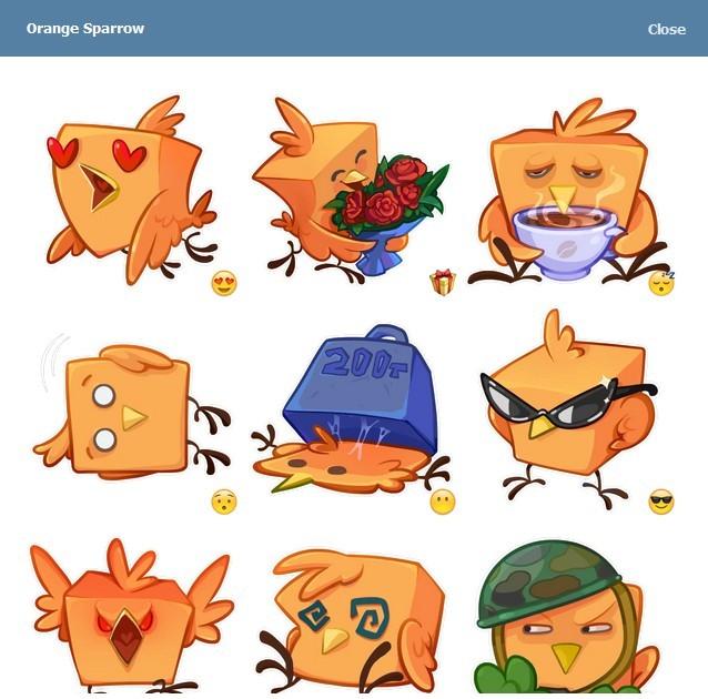 텔레그램 스티커 - Orange Sparrow