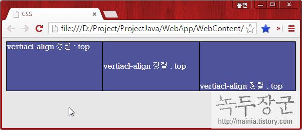 스타일 시트 CSS vertical-align 속성, inline 요소끼리 수직 정렬 옵션