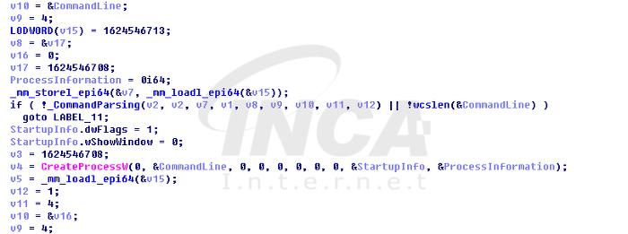 [그림 16] C&C 명령을 통하여 특정 프로세스 실행