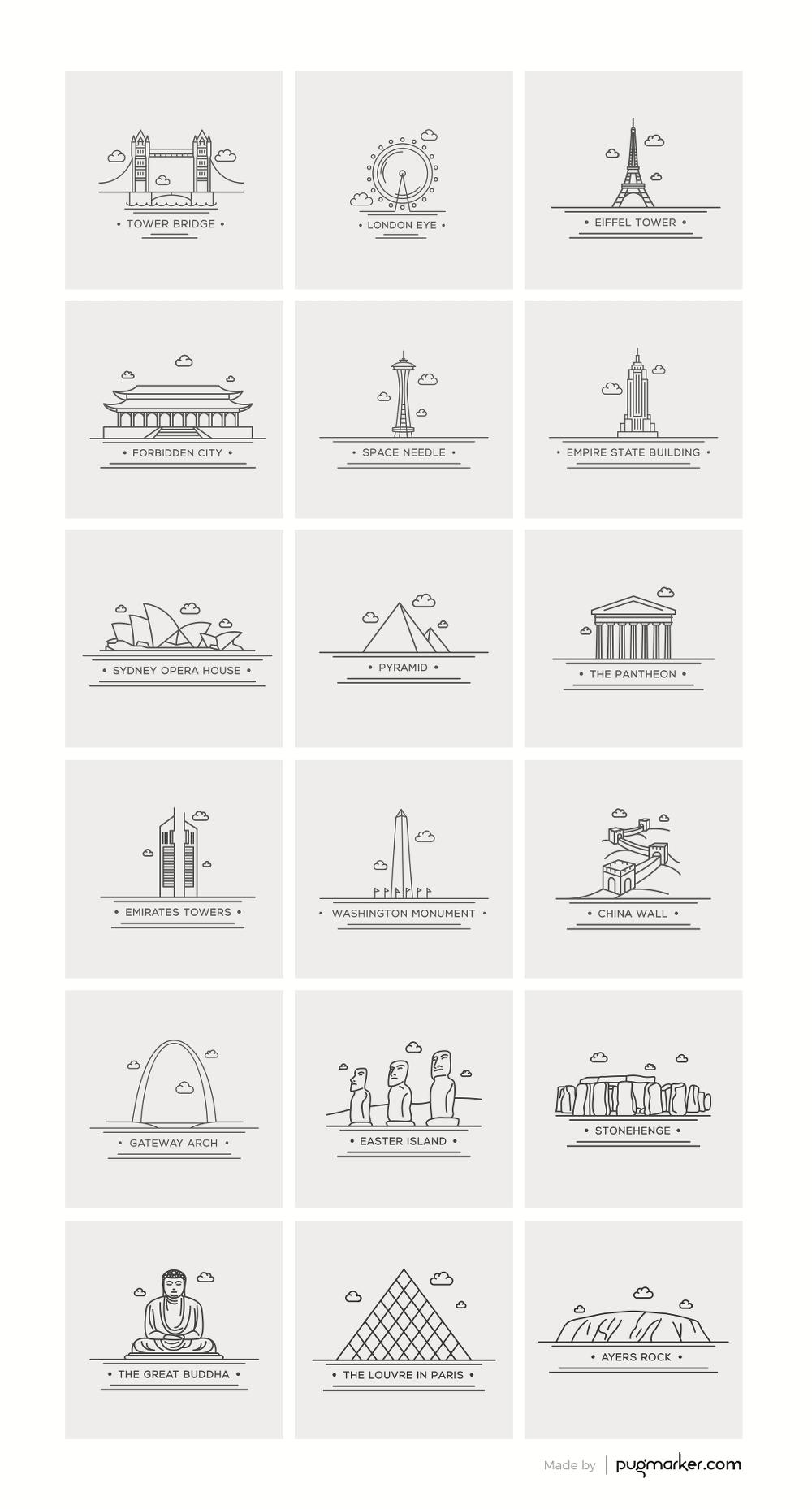 18 가지 무료 벡터 세계 랜드마크 아이콘 - 18 Free World Landmark Icons