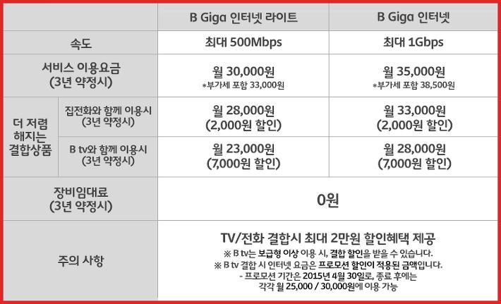 B Giga 인터넷 상품 표