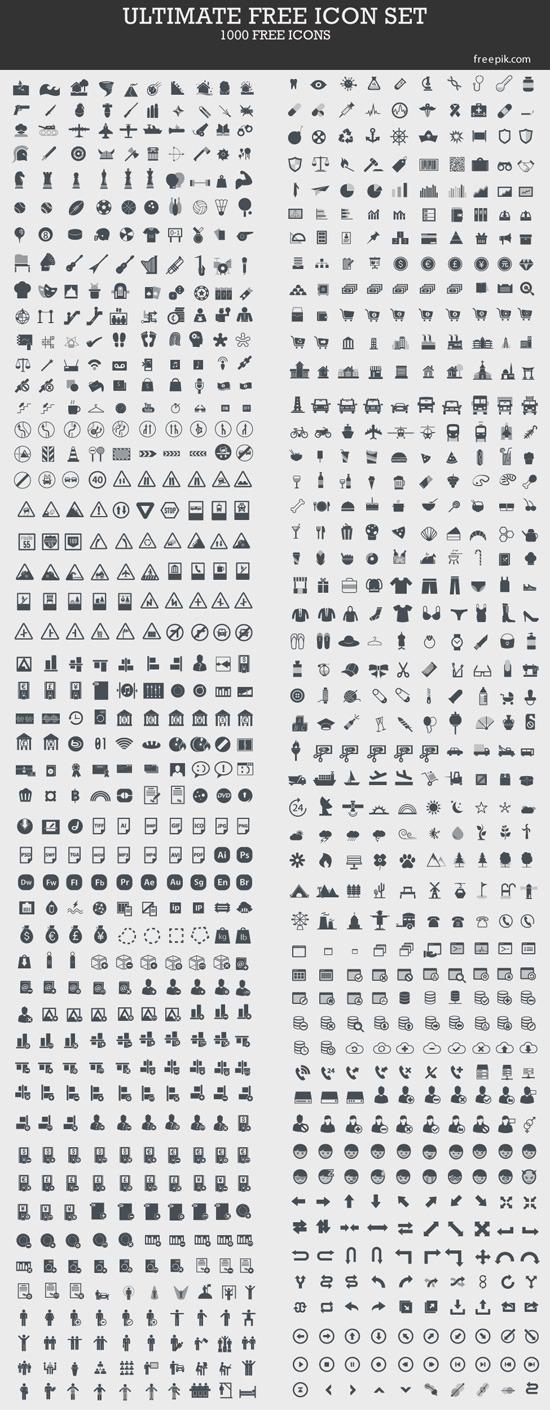 없는 게 없는 1,000 가지 벡터 아이콘 - 1,000 Ultimate Free Vector Icons