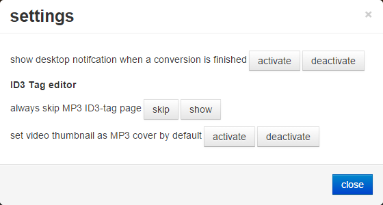 convert2mp3 사이트 설정 화면