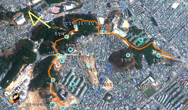 동래성 마안산(대포산)-망월산 종주 코스