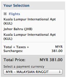 말레이시아 항공 공식 웹사이트에서 구매한 쿠알라룸푸르 - 조호바루 구간 요금