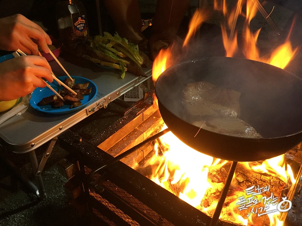 파이어플레이스 냄비 불놀이 불맛 목살 캠핑요리 겨울캠핑