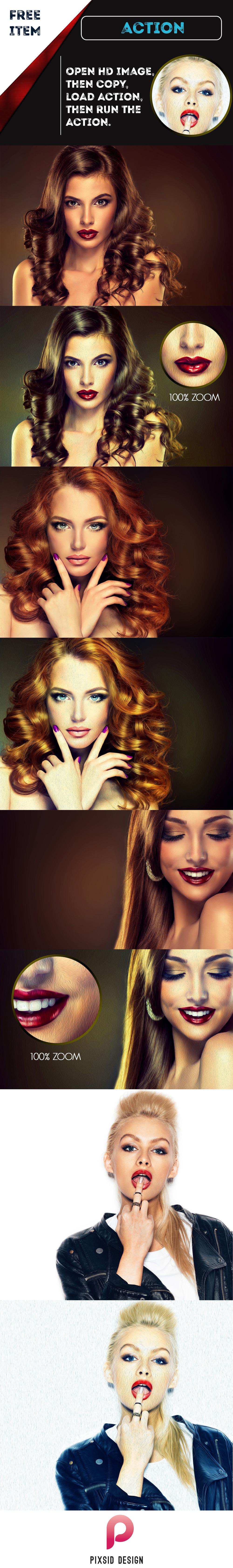 무료 포토샵 유화(오일페인팅) 액션 - Free Oil Painting Image Effect Photoshop Action
