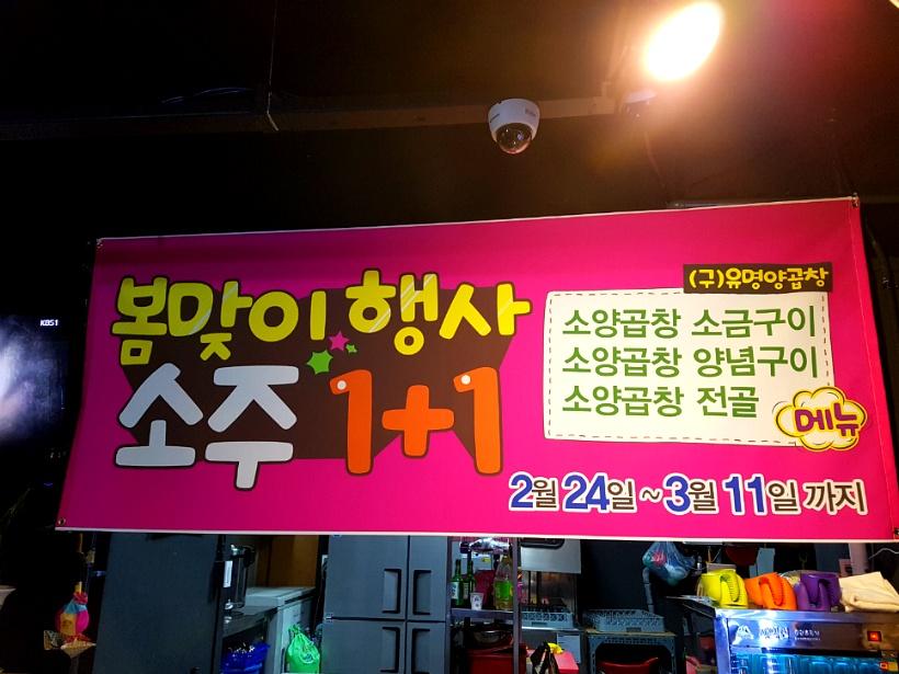 봄맞이행사 소주 1+1 현수막 사진