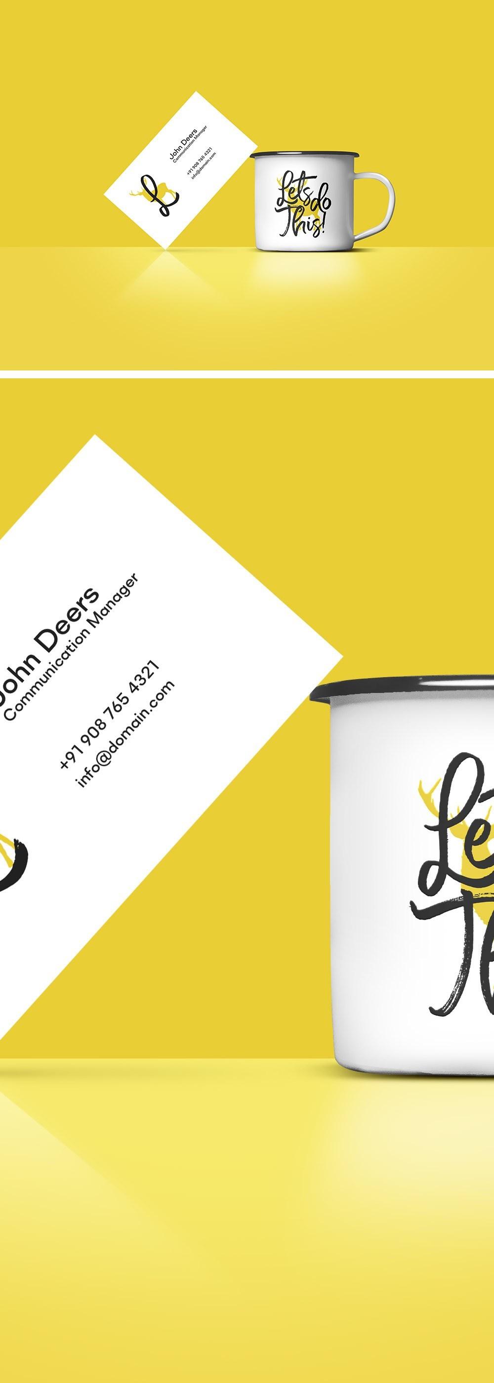 명함과 함께 있는 무료 커피컵/머그컵 목업 PSD - Free Business Card And Coffee Cup Mockup PSD