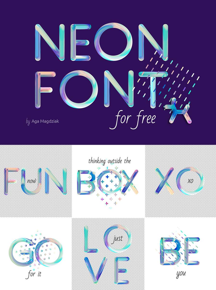 네온컬러 무료 영문폰트 Neon Free Colorful Pattern Font