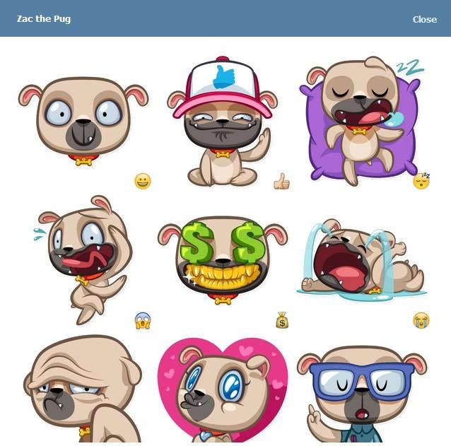 텔레그램 스티커 - Zac the Pug
