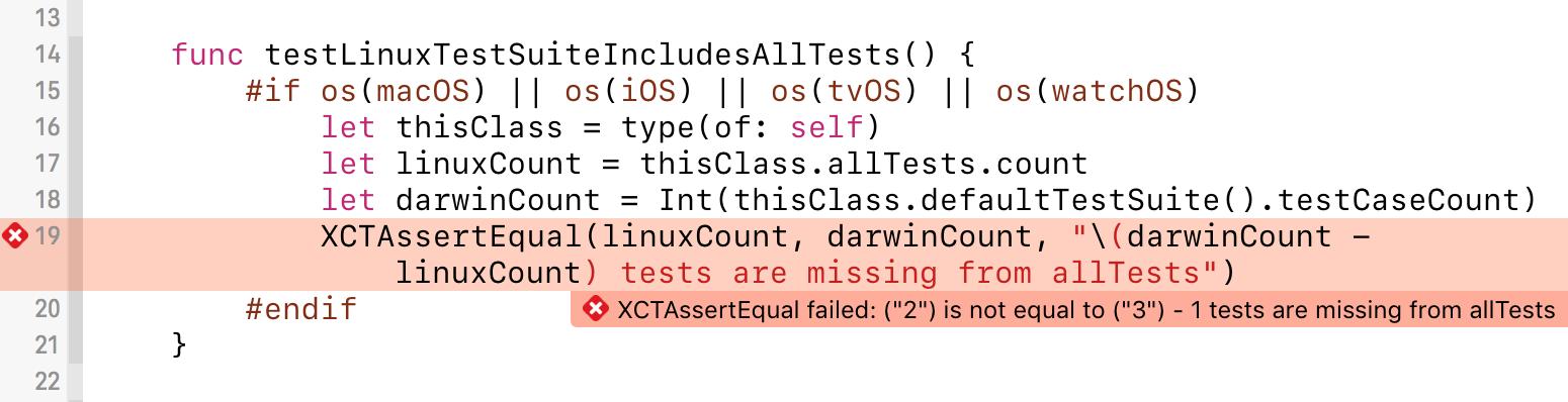 allTests 배열에 테스트를 추가하는 것을 까먹었기 때문에, 보호 테스트가 실패하고있다