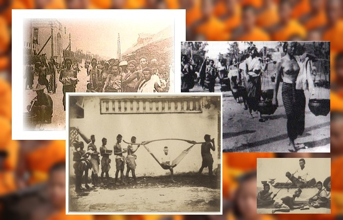 사진: 노예제도로 인한 태국 국민들의 힘겨운 삶. 당시 태국 국민의 1/3이 노예제도 하에서 살았다고 한다. 이것은 뿌리깊은 계급사회로 굳혀졌다. [태국 노예제도와 쭐랄롱꼰 국왕]