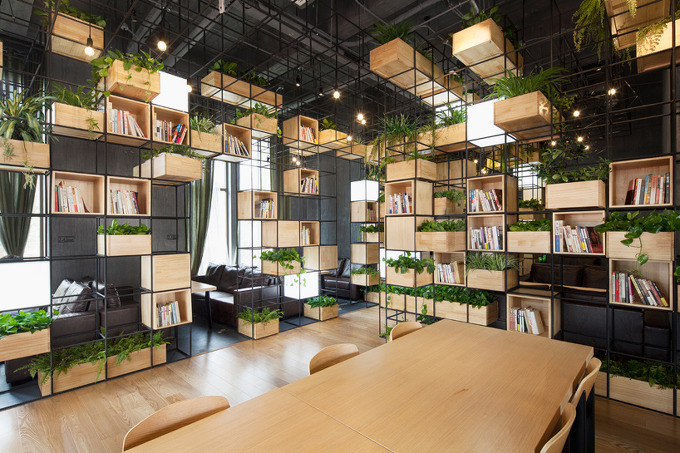 Penda recycled steel bars form modular caf - Miniature room boxes interior design ...