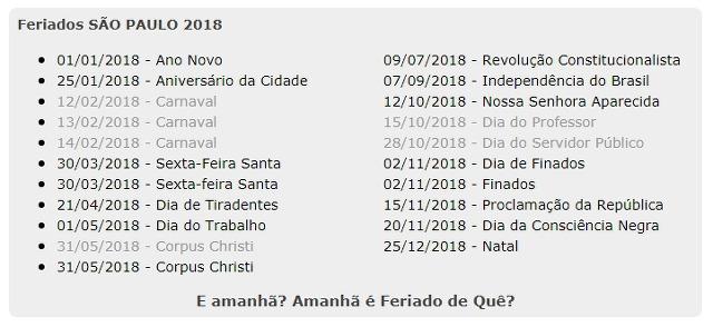 2018 브라질 상파울로 공휴일