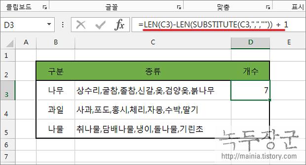 엑셀 Excel 구분자로 분리된 단어의 수를 알아내는 방법