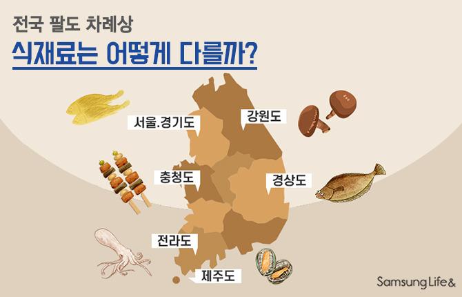 전국 식재료 비교 대한민국 지도