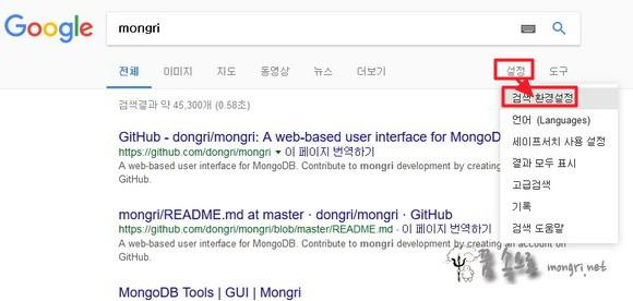 구글 검색 환경 설정