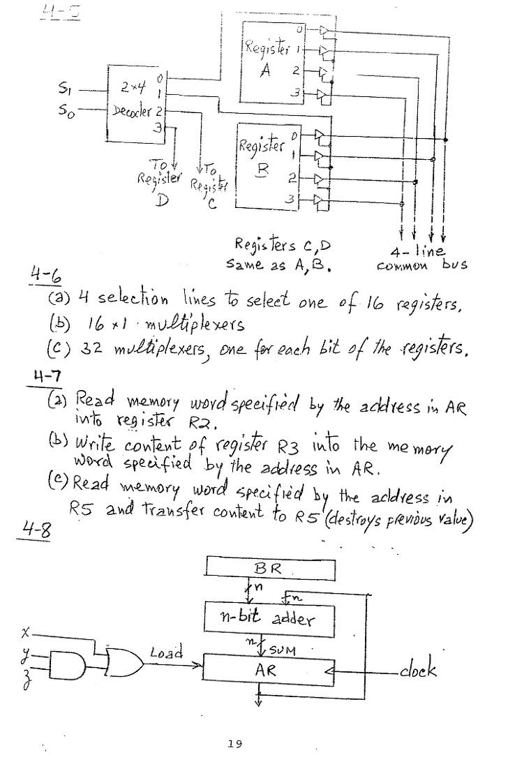 컴퓨터구조 연습문제, 모리스 마노 챕터4 19